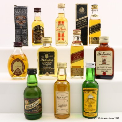Assorted Minis 10 x 5cl Including Johnnie Walker 12 Year Old Black Label Mini 5cl