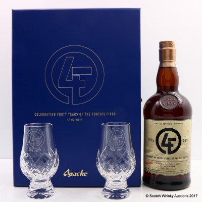 Glenfarclas 21 Year Old Apache Celebrating Forty Years Of The Forties Field 1975-2015 With Glasses