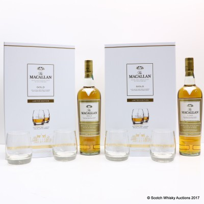 Macallan Gold & 2 X Glasses Gift Set Limited Edition 2 x 70cl