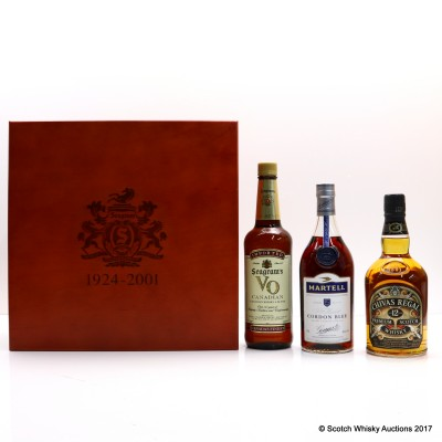 Seagram's Commemorative Employee Gift Box Including Martell Cordon Bleu Cognac, chivas Regal 12 Year old, Seagram's VO & Framed Picture 3 x 75cl