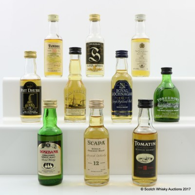 Assorted Minis 10 x 5cl Including Springbank 12 Year Old Mini 5cl