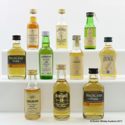 Assorted Minis 10 x 5cl Including Macallan 10 Year Old Mini 5cl