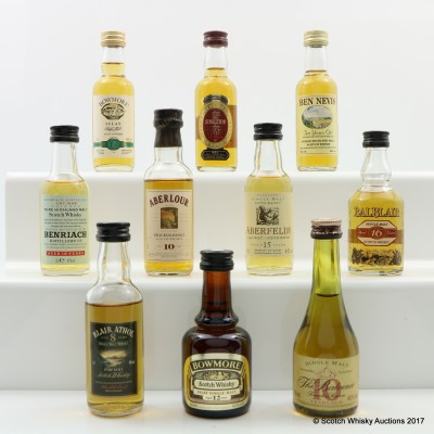 Assorted Minis 10 x 5cl Including Bowmore 12 Year Old Mini 5cl