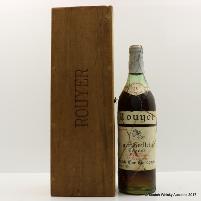 Rouyer, Guillet & Co 40 Year Old Grande Fine Champagne Cognac With 2 Glasses