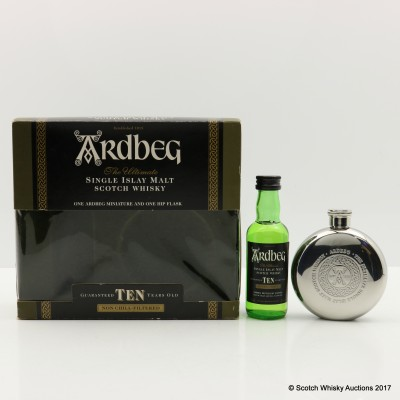 Ardbeg 10 Year Old Mini 5cl With Hip Flask Set
