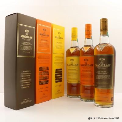 Macallan Edition No1, No2 & No3 3 x 70cl