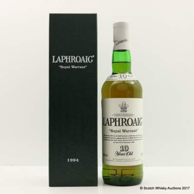Laphroaig 10 Year Old Royal Warrant 1994 Release