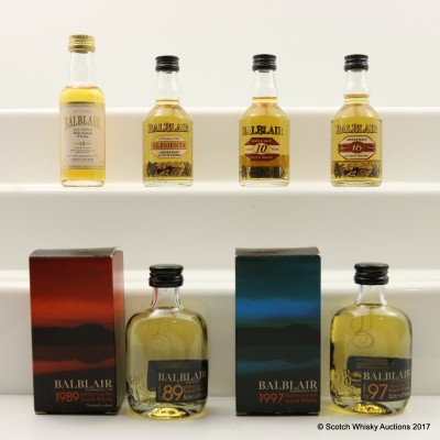 Assorted Balblair Minis 6 x 5cl Including Balblair 1989