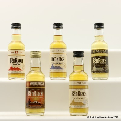 Assorted BenRiach Minis 5 x 5cl Including BenRiach 21 Year Old
