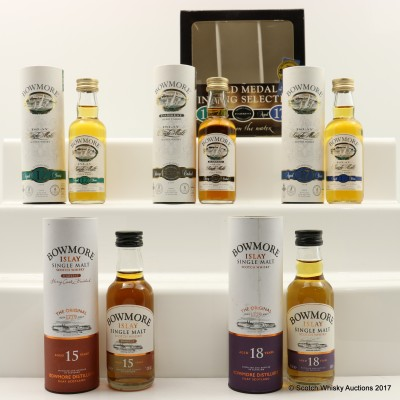 Assorted Bowmore Minis 5 x 5cl Including Bowmore 18 Year Old