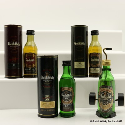 Assorted Glenfiddich Minis 4 x 5cl Including Glenfiddich Pure Malt With Golf Trolley