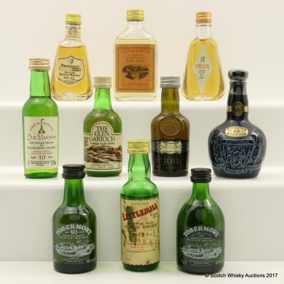Assorted Minis 10 x 5cl Including Littlemill 8 Year Old 5cl