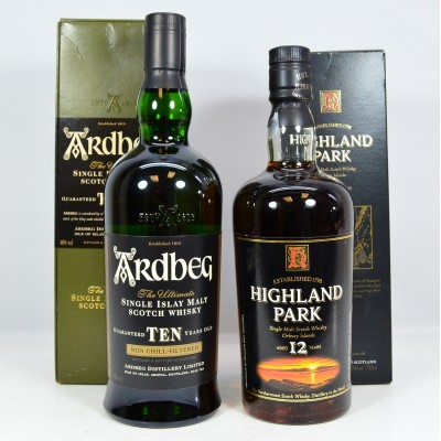 Ardbeg 10 Year Old & Highland Park 12 Year Old Old Style
