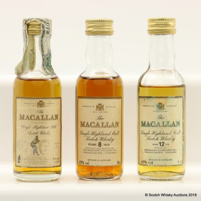 Assorted Macallan Minis 3 x 5cl Including Macallan 8 Year Old