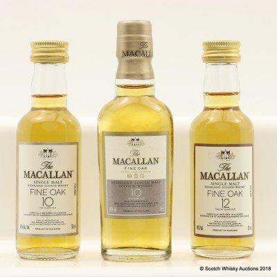 Assorted Macallan Minis 3 x 5cl Including Macallan 12 Year Old Fine Oak Mini 5cl