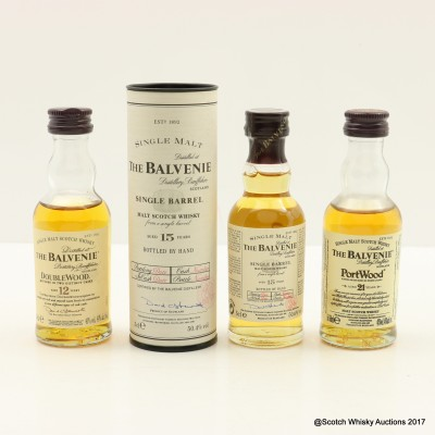 Assorted Balvenie Minis 3 x 5cl Including PortWood 21 Year Old 5cl
