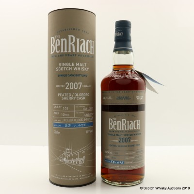 BenRiach 2007 10 Year Old Peated Sherry Cask #101