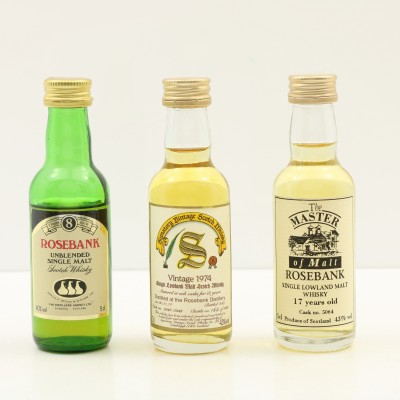 Assorted Rosebank Minis 3 x 5cl Including 1974 18 Year Old Signatory
