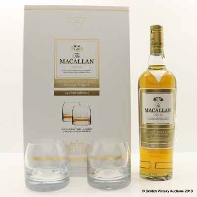 Macallan Gold & 2 X Glasses Gift Set Limited Edition