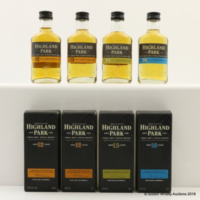 Assorted Highland Park Minis 4 x 5cl Including 16 Year Old