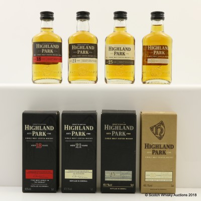 Assorted Highland Park Minis 4 x 5cl Including 30 Year Old