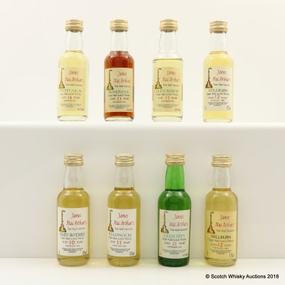 Assorted James McArthur's Minis 8 x 5cl Including Rosebank 1978 13 Year Old