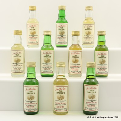 Assorted James McArthur's Old Masters Minis 10 x 5cl Including Glen Garioch 1988 18 Year Old