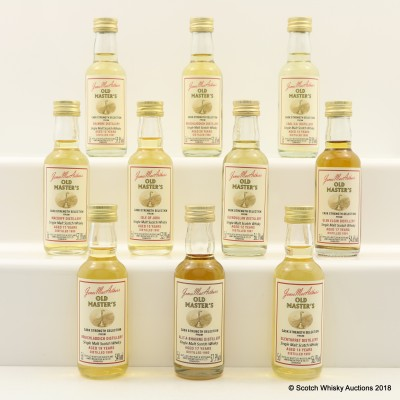 Assorted James McArthur's Old Masters Minis 10 x 5cl Including Bruichladdich 1988 20 Year Old