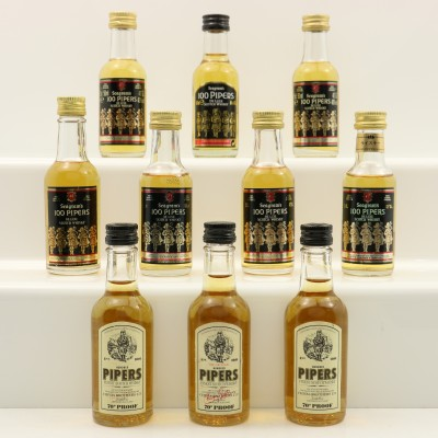Assorted Seagrams 100 Pipers Minis 10 x 5cl