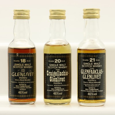 Assorted Cadenhead's Minis 3 x 5cl Including Glenfarclas-Glenlivet 21 Year Old