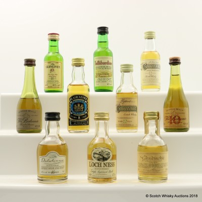 Assorted Minis 10 x 5cl Including Balvenie 10 Year Old Founder's Reserve Cognac Bottle