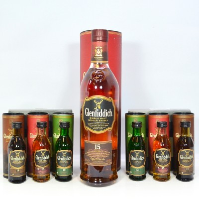 Glenfiddich 15 Year Old  & 2 x Boxed Sets of 3 Minis