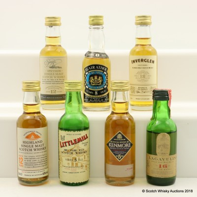 Assorted Minis 7 x 5cl Including Littlemill 5 Year Old