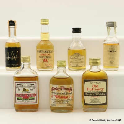 Assorted Minis 8 x 5cl Including Old Pulteney 8 Year Old 70° Proof