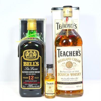 Bell's 12 Year Old, Teacher's Highland Cream 75cl & 5cl Mini