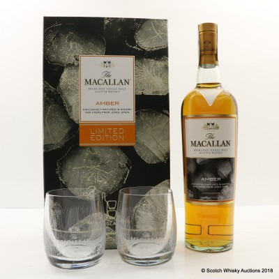 Macallan Amber & 2 x Glasses Gift Set Limited Edition