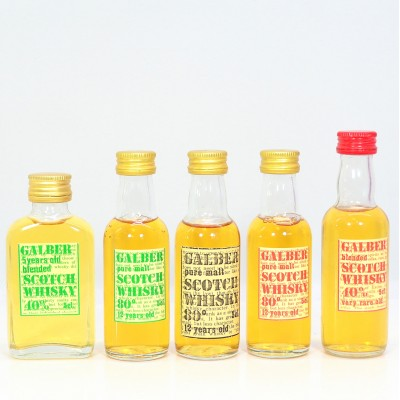 Assorted Minis x 5 5cl Including 3 x Galber Pure Malt