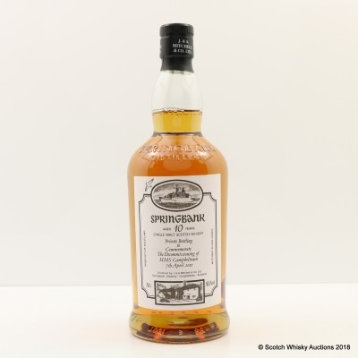 Springbank 10 Year Old Private Bottling To Commemorate The Decommissioning Of HMS Campbeltown