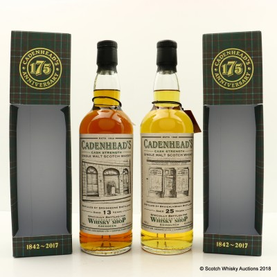 Springbank 2003 13 Year Old For Cadenhead's Shop Aberdeen & Bruichladdich 1992 25 Year Old For Cadenhead's Shop Edinburgh