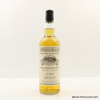 Springbank 2000 15 Year Old Private Cask Millennium Edition
