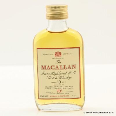 Macallan 10 Year Old 70° Proof Gordon & MacPhail Mini 1 2/3 Fl Oz