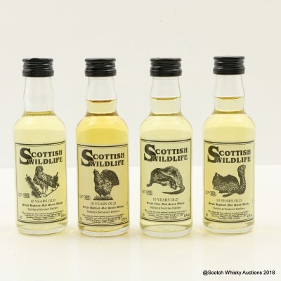 Assorted Scottish Wildlife Minis 4 x 5cl Including Port Ellen 10 Year Old