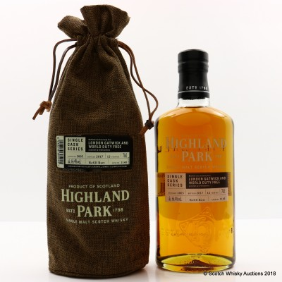 Highland Park 2005 12 Year Old Single Cask #1140 For London Gatwick And World Duty Free