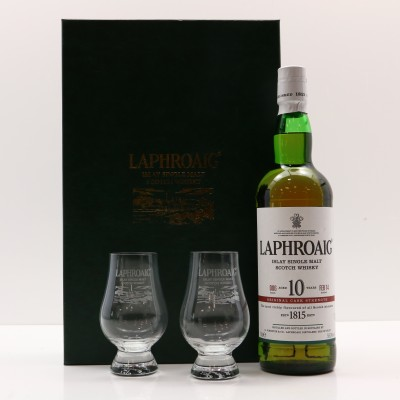 Laphroaig 10 Year Old Cask Strength Batch #6 & 2 x Glasses