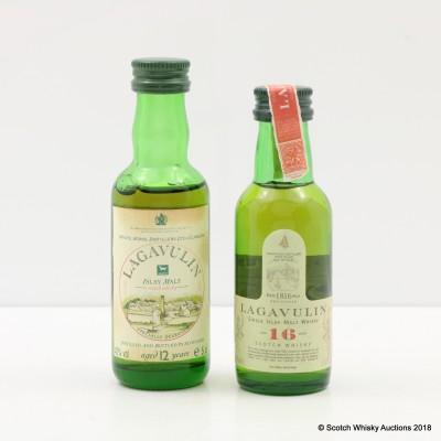 Lagavulin 12 Year Old White Horse Bottling Mini 5cl & Lagavulin 16 Year Old Mini 5cl