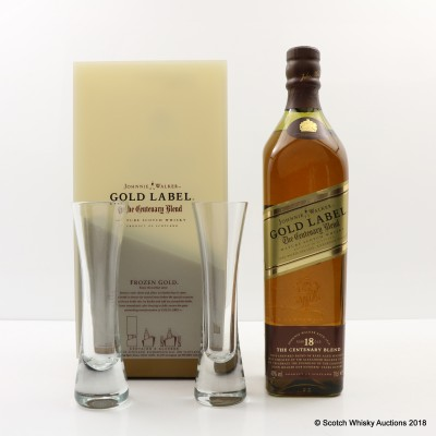 Johnnie Walker Gold Label Centenary Blend 18 Year Old & 2 x Glasses