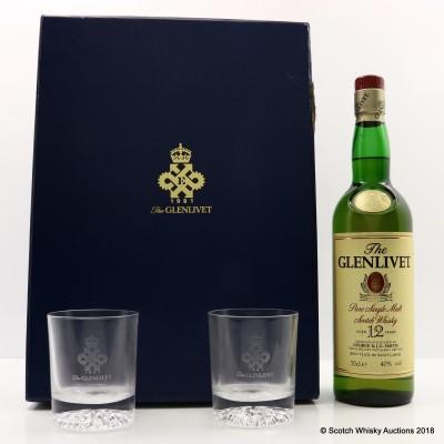Glenlivet 12 Year Old Queen's Export Award 1981 Set With Glasses