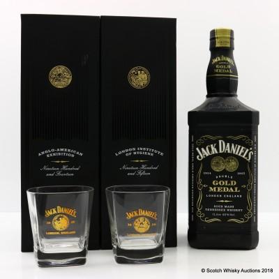 Jack Daniel's Double Gold Medal & 2 Glasses 1L