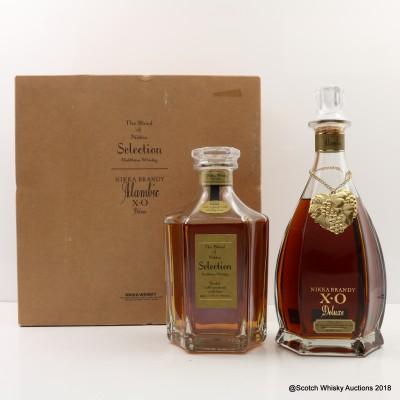 Nikka Selection Blended Whisky & Nikka Alambic XO Brandy Decanters 2 x 66cl