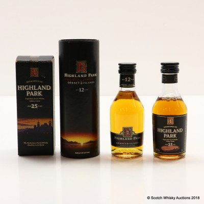 Highland Park 25 Year Old & 12 Year Old Dumpy Bottle Minis 2 x 5cl